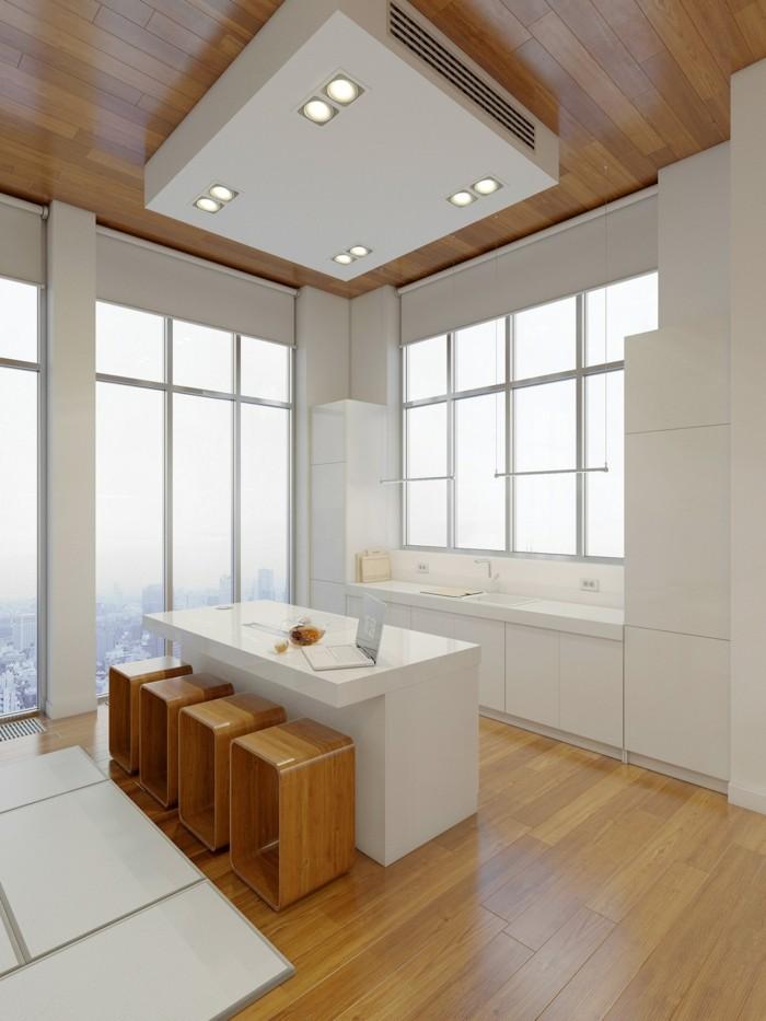 minimalistisch wohnen weiße küche schöne sitzgelegenheiten
