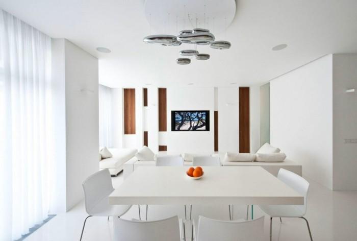 minimalistisch wohnen weißes esszimmer moderne beleuchtung