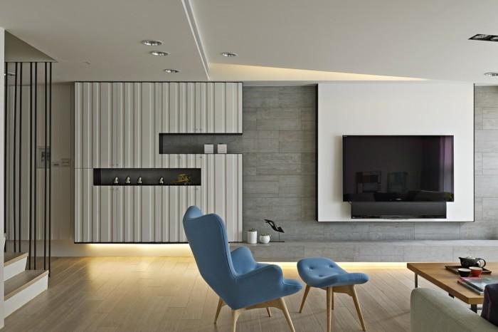 minimalistisch wohnen wohnideen wohnzimmer blaue möbel moderne LED beleuchtung
