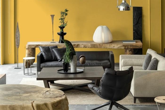 minimalistisch wohnen wohnideen wohnzimmer gelbe wand