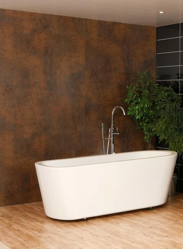 modern einrichten badezimmer akzentwand weiße badewanne pflanze