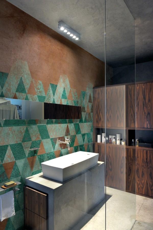 modern einrichten badezimmer gestalten patina wanddesign