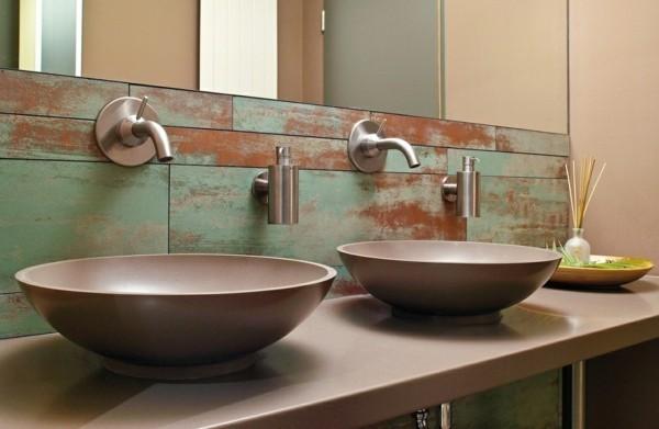 modern einrichten badezimmer ideen patina effekt