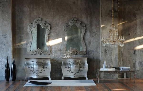 modern einrichten badezimmer wandgestaltung wandfarbe patina effekt
