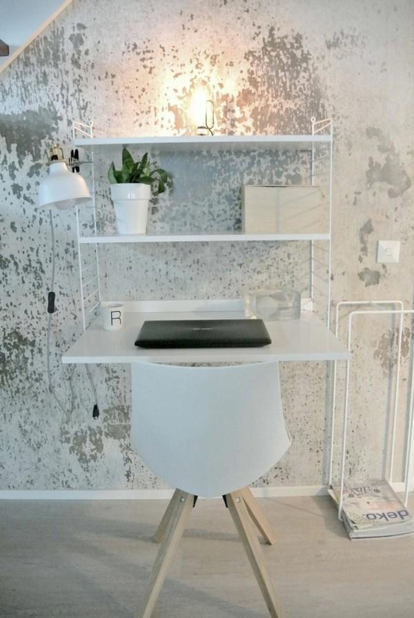 modern einrichten home office patina effekt wandtapete