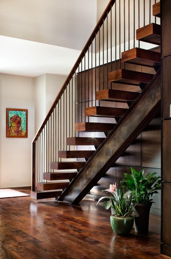 modern einrichten patina effekt innentreppe
