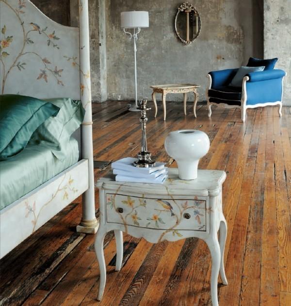 modern einrichten patina wandfarbe weiße möbelstücke dielenboden