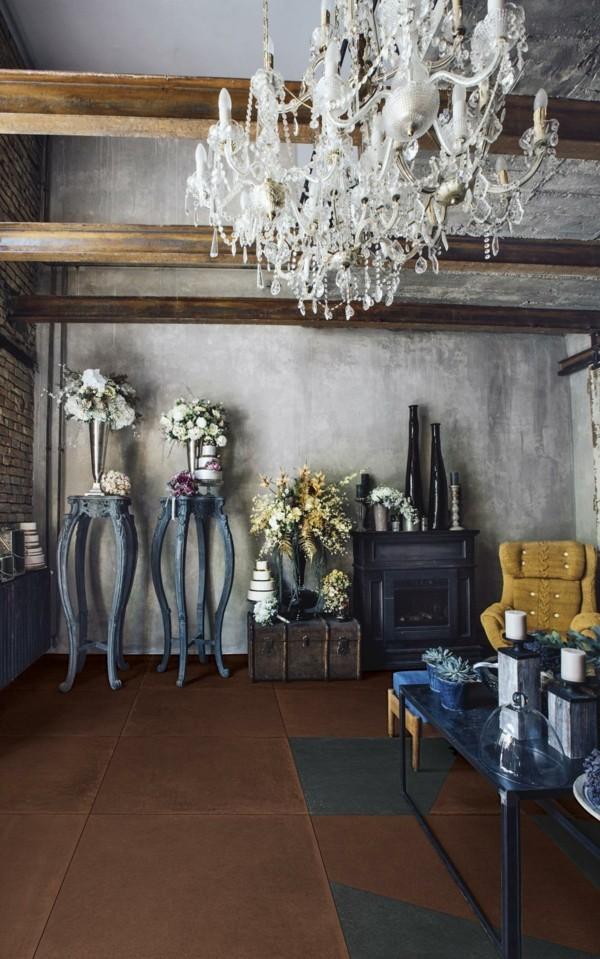 modern einrichten patina wandfarbe wohnzimmer ideen