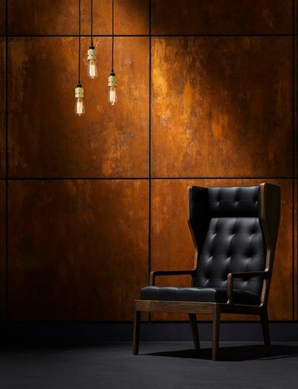 modern einrichten schönes wanddesign patina effekt wohnzimmer