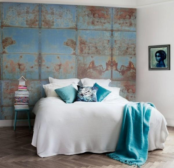 modern einrichten schlafzimmer einrichten akzentwand patina effekt design