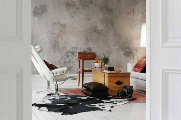 modern einrichten wandgestaltung wohnzimmer patina effekt