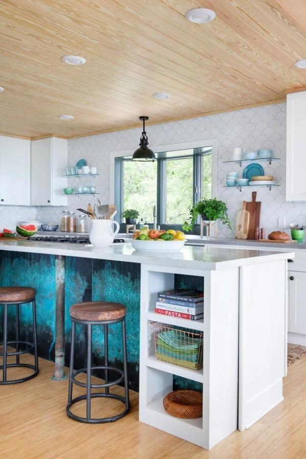 modern einrichten wohnideen küche kücheninsel patina effekt