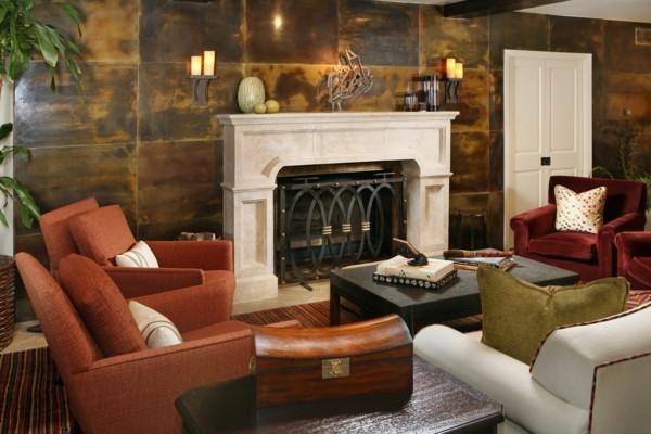 modern einrichten wohnzimmer gestalten wanddesign patina effekt