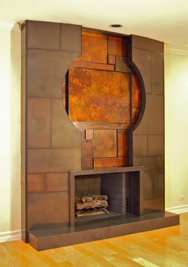 modern einrichten wohnzimmer kamin patina effekt