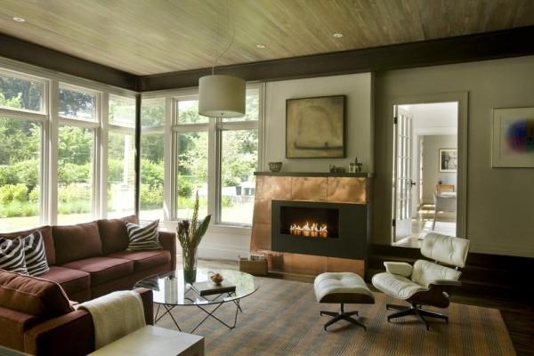 modern einrichten wohnzimmer kaminsims deko patina effekt
