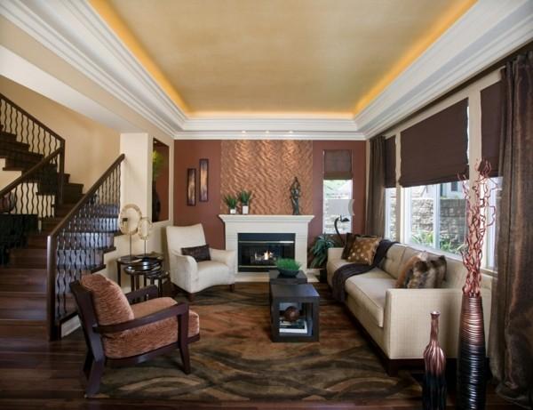 modern einrichten wohnzimmer wanddeko patina effekt