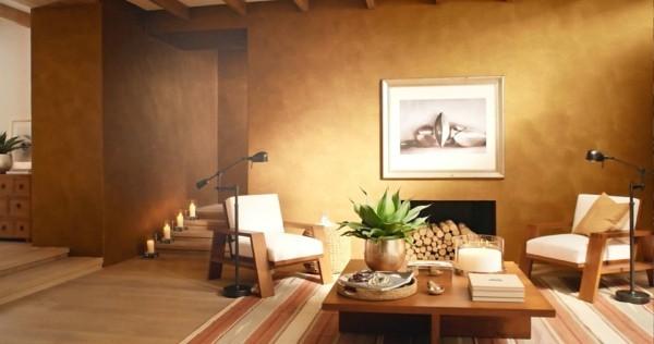modern einrichten wohnzimmer wandfarbe patina effekt