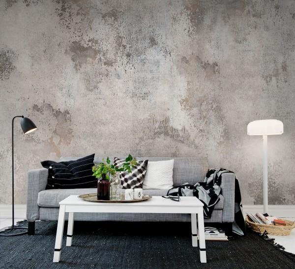 modern einrichten wohnzimmer wandfarbe patina
