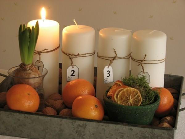 orangen walnüsse weisse kerzen adventskranz selber machen