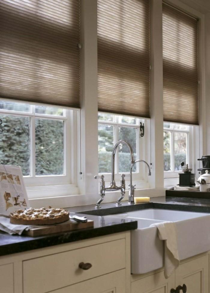 plissees küchenfenster verdunkeln braunnuancen