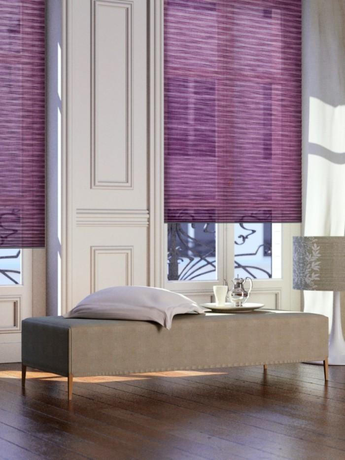 plissees lila gemütlicher wohnbereich dielenboden