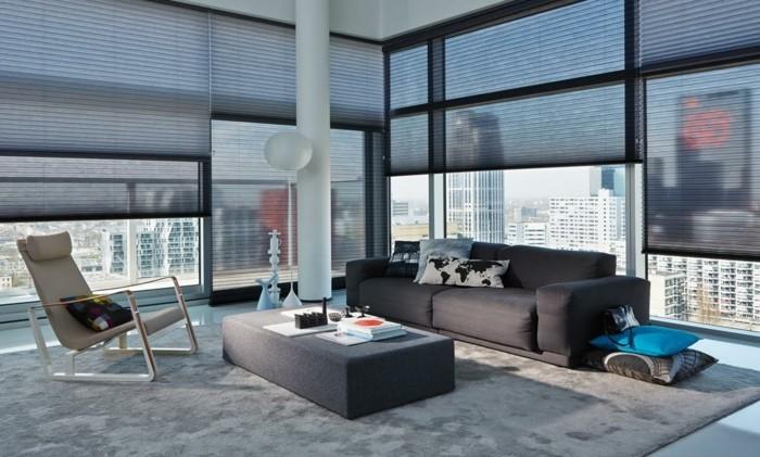plissees moderne loft wohnung wohnzimmer einrichten