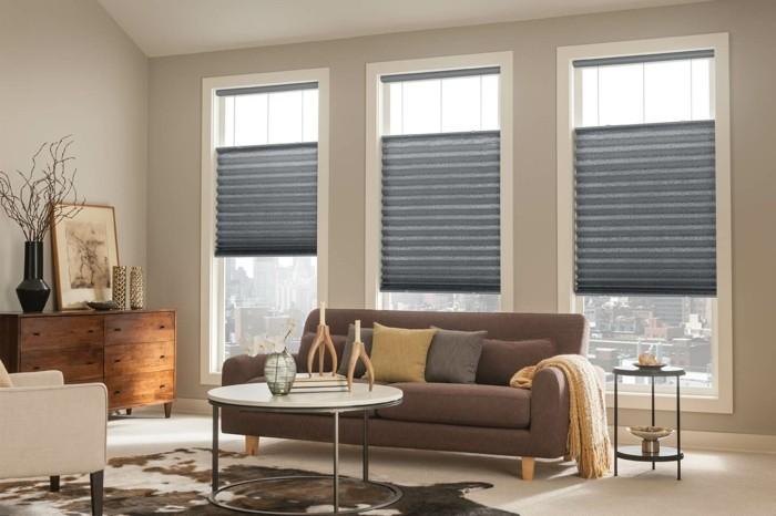 plissees wohnzimmer einrichten graues design schöne aussicht