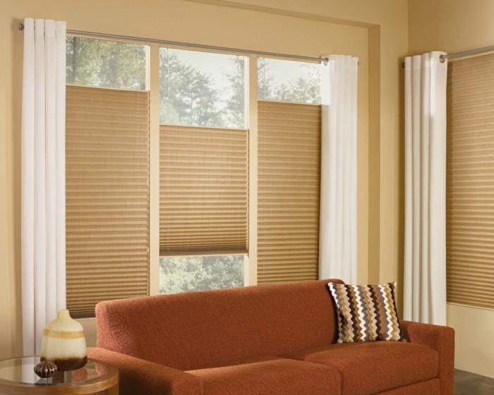 plissees wohnzimmer gestalten braunes design schönes wohnzimmersofa