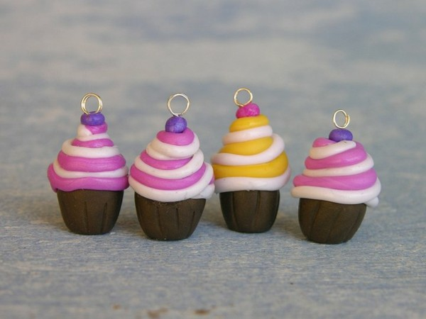 polymer clay cupcakes anhänger basteln mit fimo