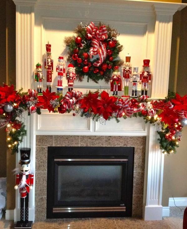 prachtvolle idee rot weihnachtskamin weihnachtsdeko