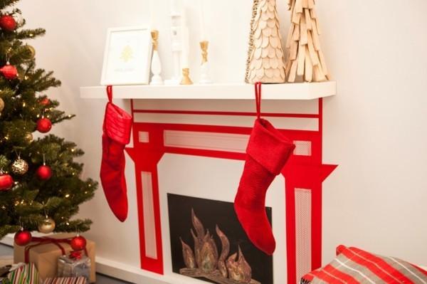 rote streifen weihnachtskamin weihnachten kamin deko