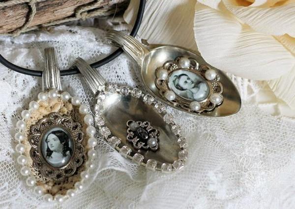 schöne shabby chic deko selber machen alte silberlöffel fotos perlen