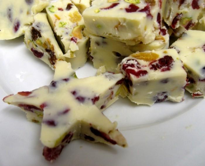 schokoladentafel gestalten weiße schokolade mit fruechten