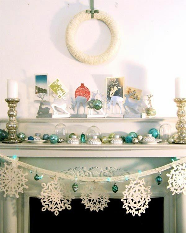schneeflocken weihnachtskamin weihnachten kamin deko weiß