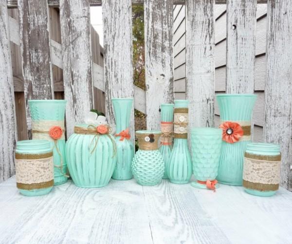 shabby chic deko selber machen vasen rupfen spitze