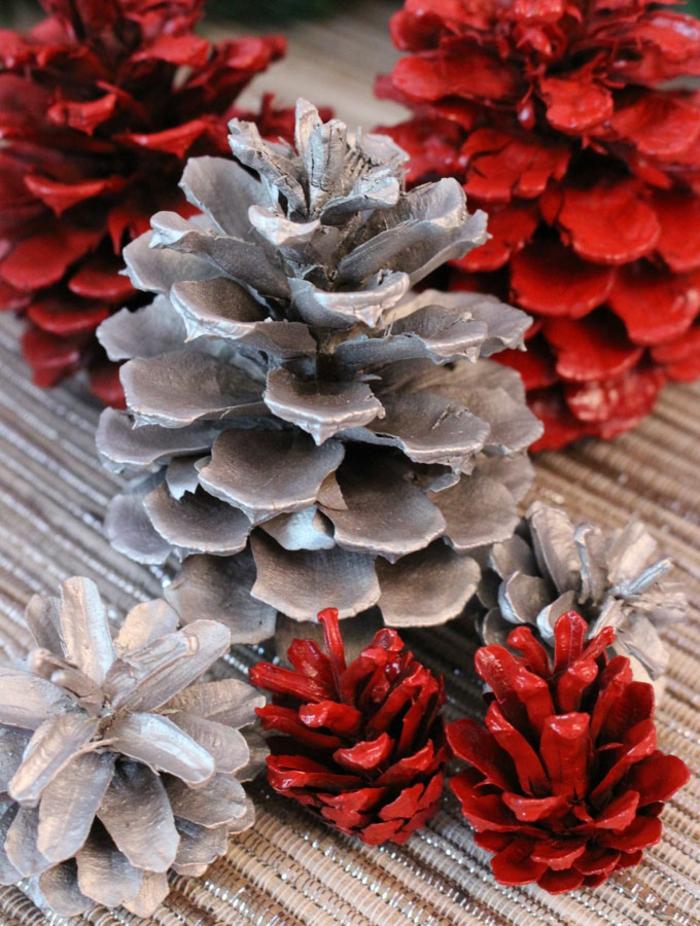 silber rot weihnachtsdeko selber machen basteln mit zapfen