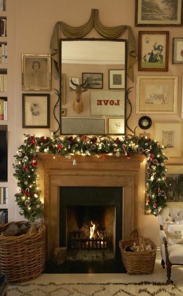 spiegel weihnachtskamin dekorieren deko zweige