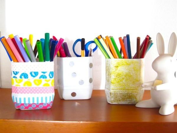 stiftehalter selber machen mit washi tape und plastikflaschen