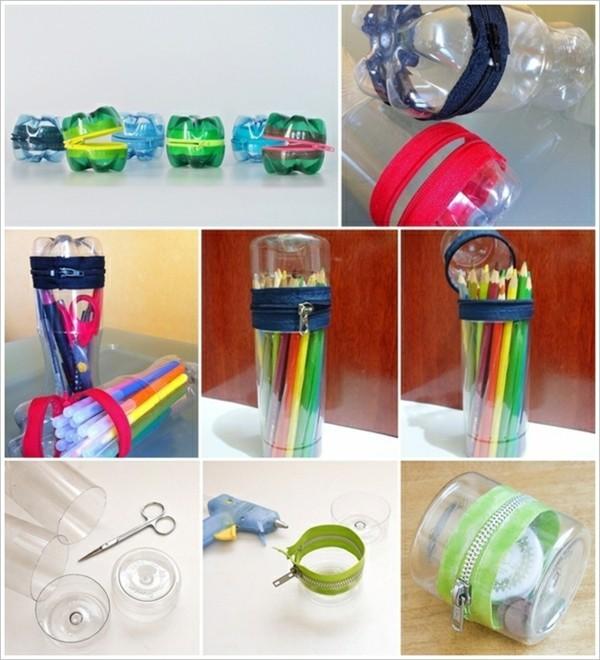 stiftehalter selber machen plastikflaschen reißverschluss schere kleber