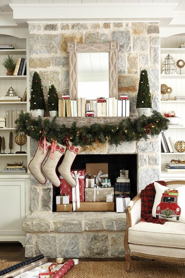 tannenbäume weihnachtskamin dekorieren deko ansprechend