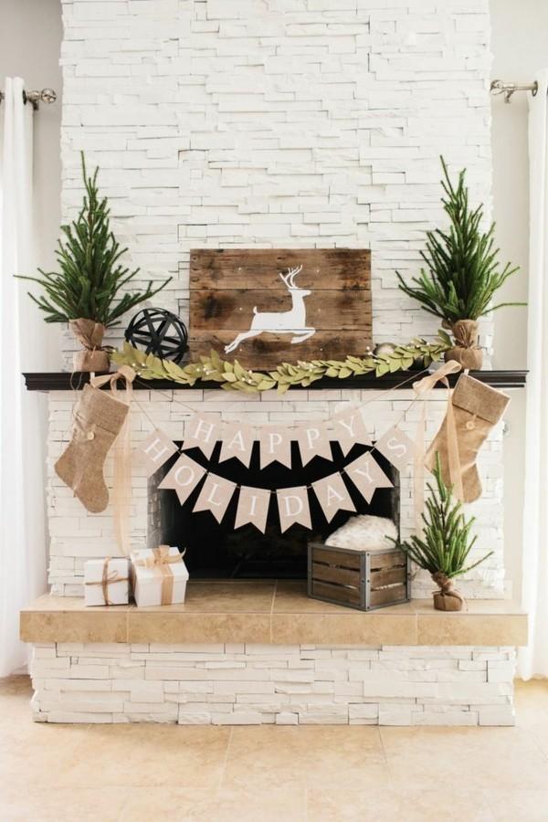 tannenbäume weihnachtskamin weihnachtsdeko idee