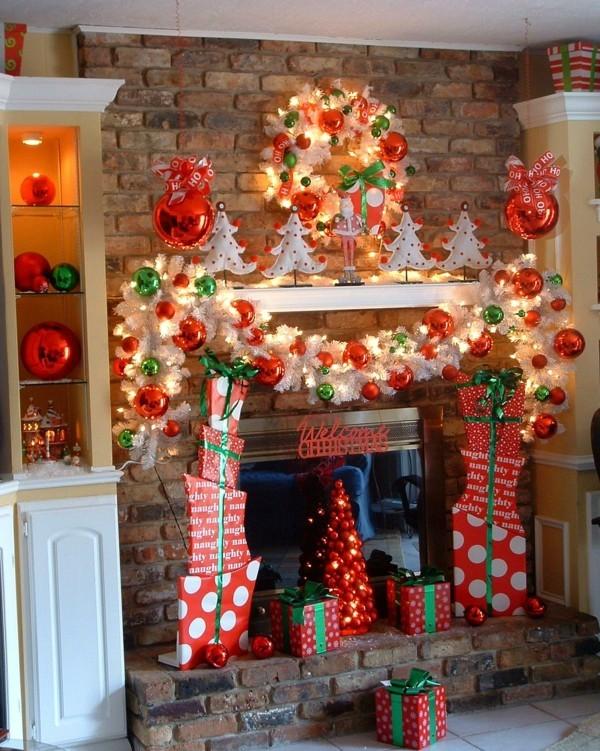 traditionell weihnachtskamin dekorieren deko ideen