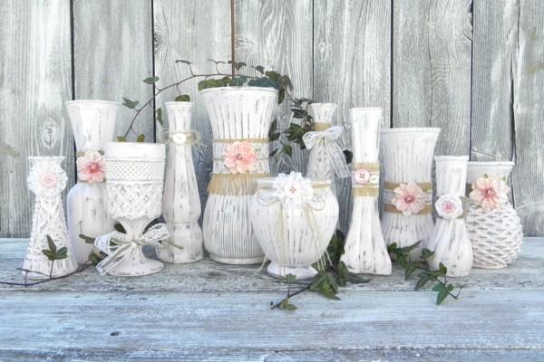 vasen dekorieren shabby chic deko selber machen