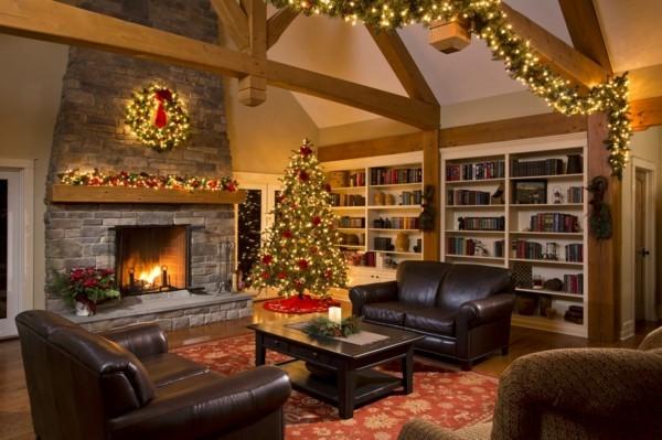 verschiedene farben weihnachtskamin dekorieren deko leuchten
