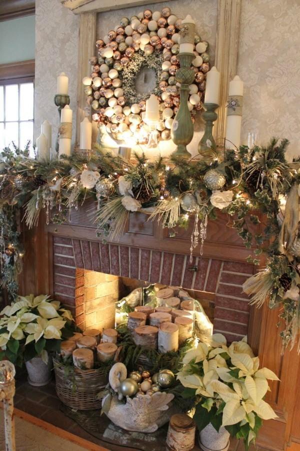 viel grüne weihnachtskamin dekorieren deko spiegel