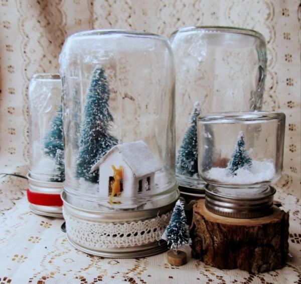 viele schneelandschaftengeschenke aus dem glas basteln mit kindern