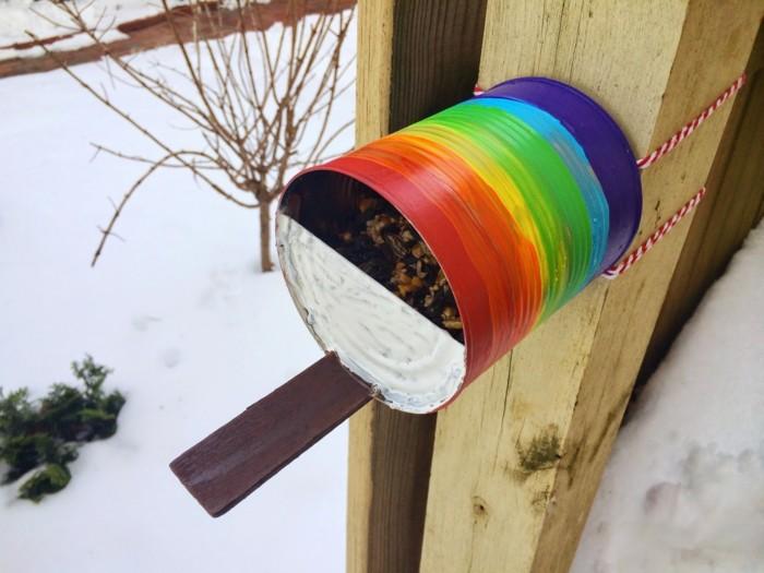 vogelfutterhaus selber bauen regenbogen
