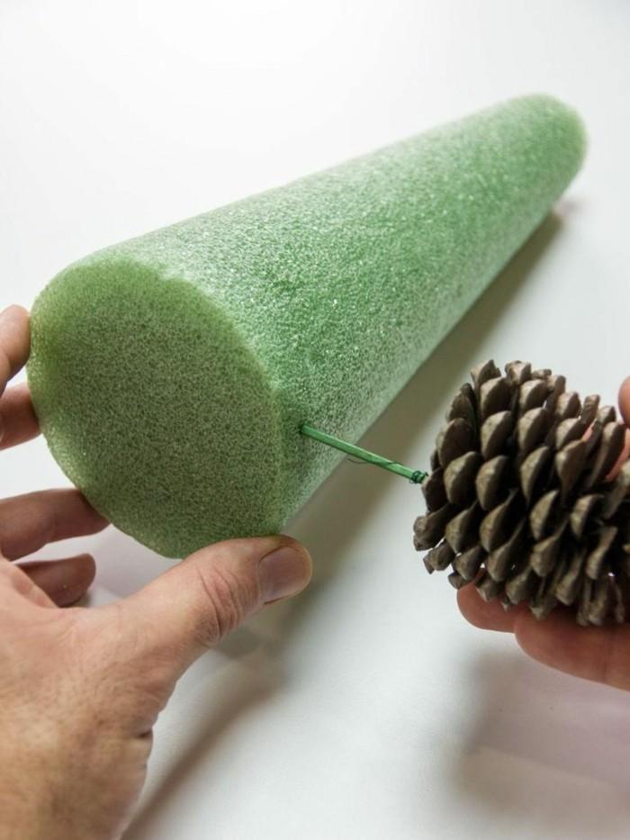 weihnachtsbaum selber machen basteln mit zapfen