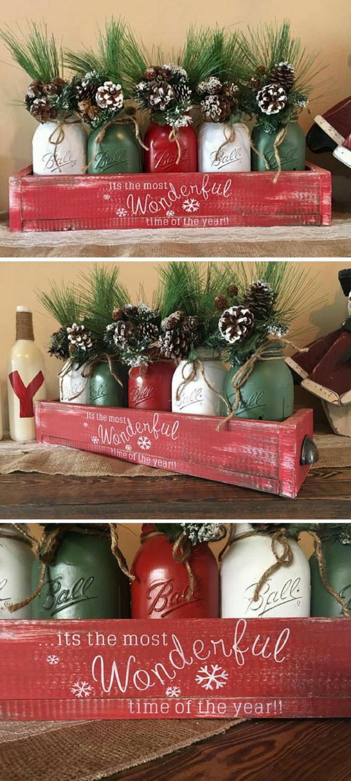 weihnachtsdeko aus ball mason gläsern basteln mit zapfen