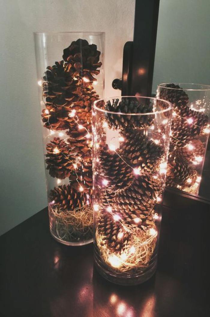 weihnachtsdeko basteln mit zapfen und lichterketten im glas